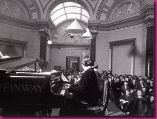 Dame Myra Hess in the Barry Room of the National Gallery, 1940