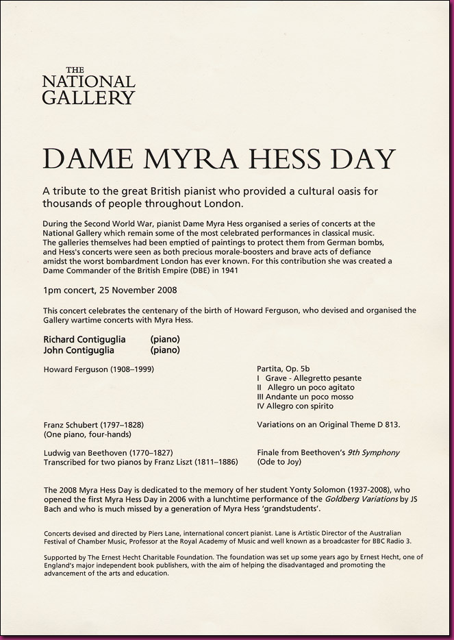 Dame Myra Hess Day, Program